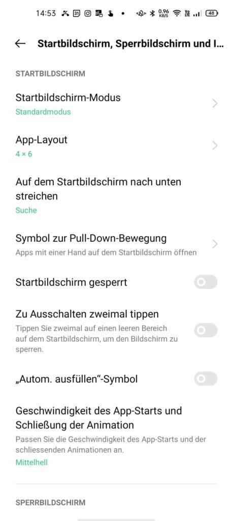 App-Layout konfigurieren