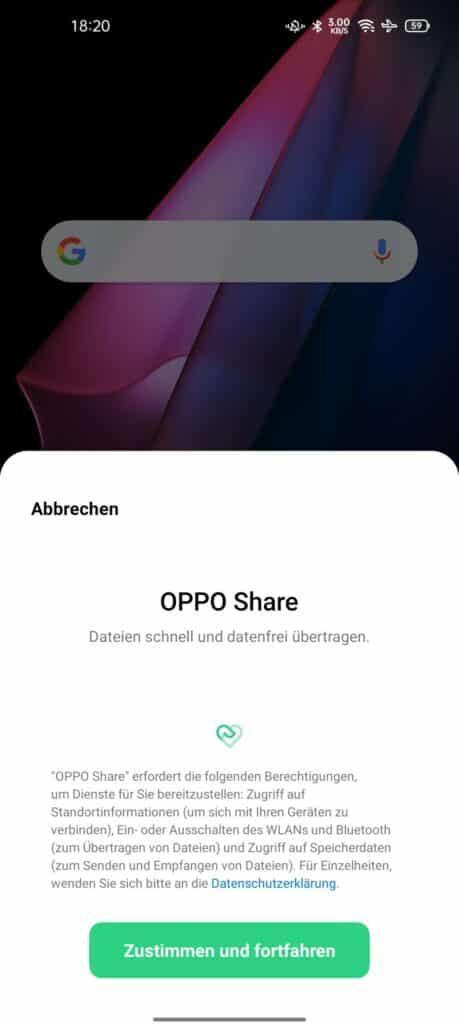 Hier OPPO Share einmalig freigeben