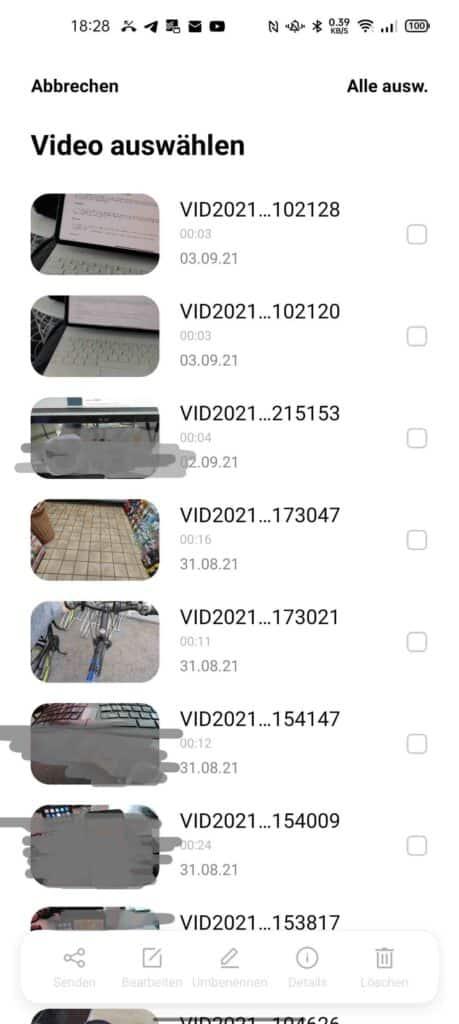 Videos auswählen