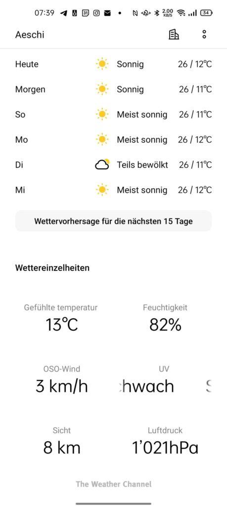 Weitere Details zum lokalen Wetter